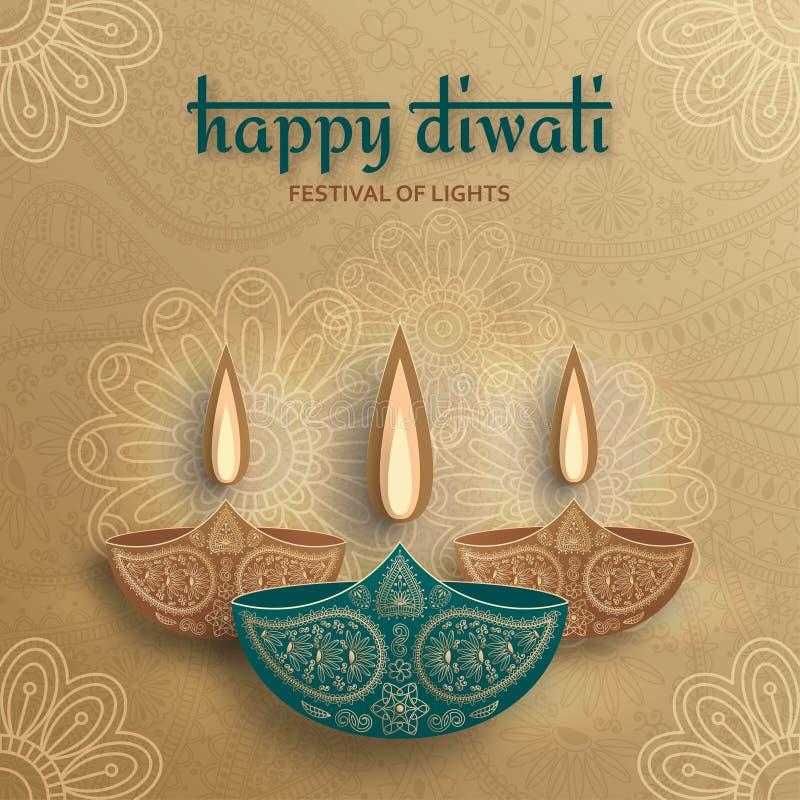 Cartolina d'auguri per la celebrazione di festival di Diwali in India illustrazione vettoriale