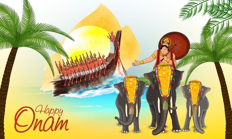 Cartolina d'auguri per la celebrazione felice di Onam illustrazione di stock