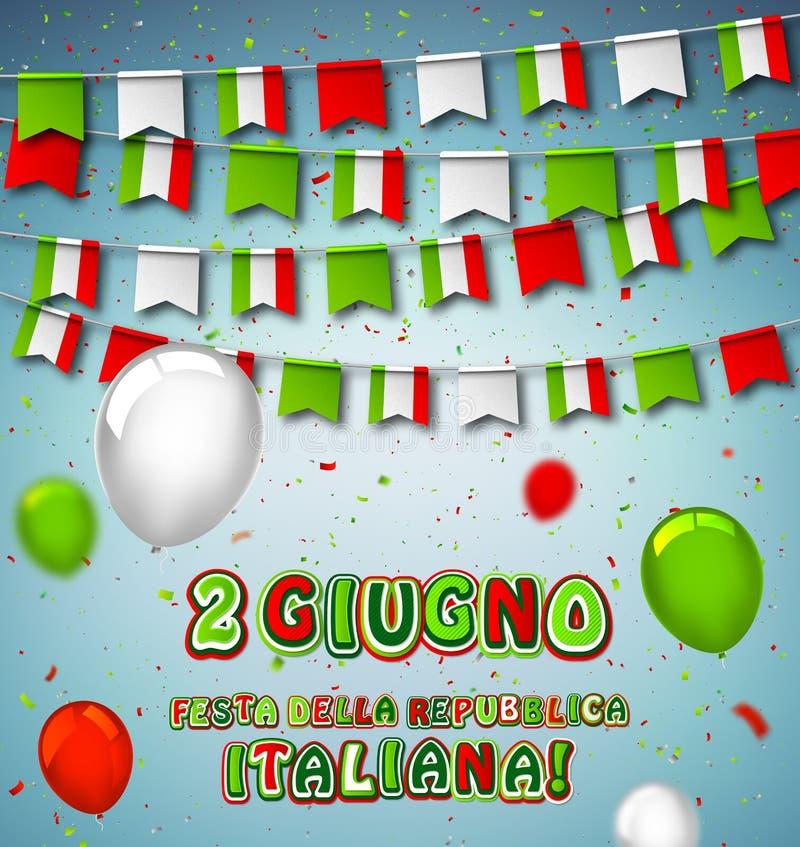 Cartolina d'auguri per la celebrazione nazionale italiana 2 di giugno, festa italiana della Repubblica Bandiere variopinte dell'I royalty illustrazione gratis