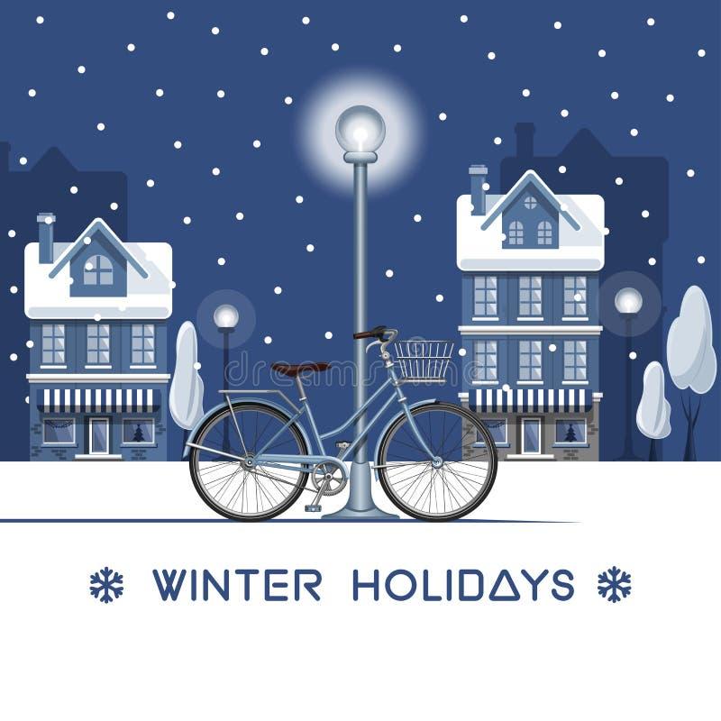Cartolina d'auguri per le vacanze invernali illustrazione di stock
