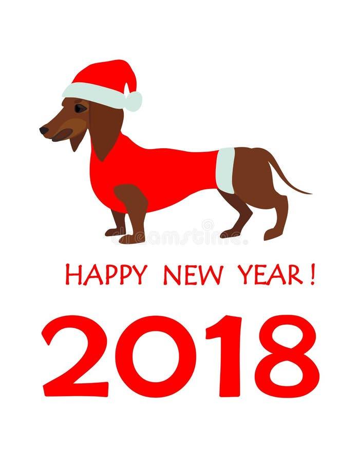 Cartolina d'auguri per 2018 nuovi anni con il bassotto tedesco in cappello di Santa illustrazione di stock