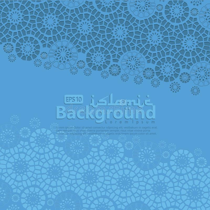 Cartolina d'auguri per Ramadan Kareem e Ed Mubarak Ornamentale islamico dell'illustrazione del fondo del mosaico illustrazione vettoriale