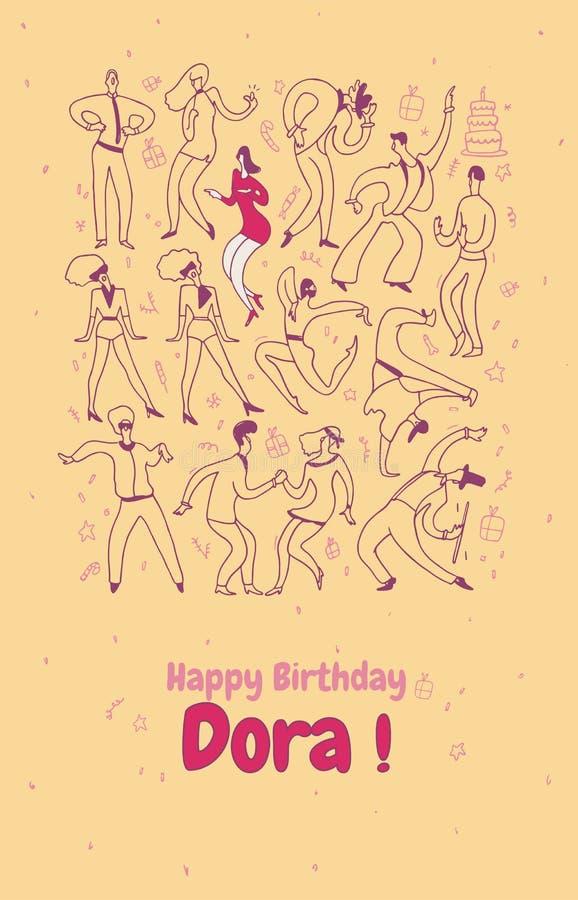 Cartolina d'auguri personale La gente di ballo del partito Insieme dell'illustrazione al tratto Buon compleanno immagine stock