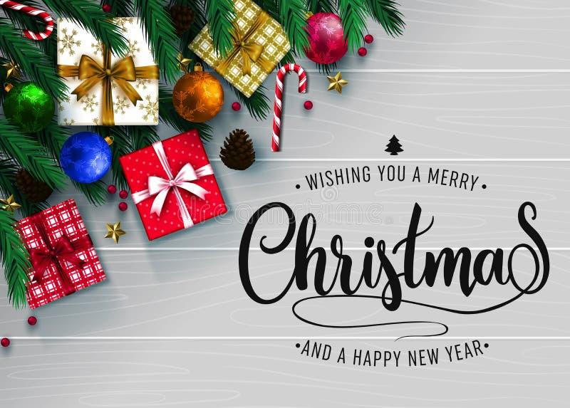 Cartolina d'auguri realistica di festa di vista superiore con gli elementi di Natale royalty illustrazione gratis