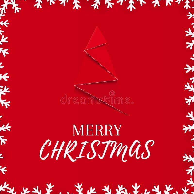 Cartolina d'auguri rossa di Natale con l'albero del nuovo anno ed il confine di carta del fiocco di neve royalty illustrazione gratis