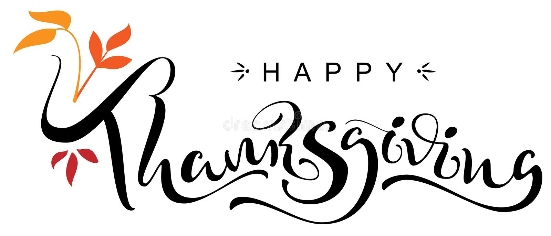 Cartolina d'auguri scritta a mano del testo di calligrafia di giorno felice di ringraziamento illustrazione di stock