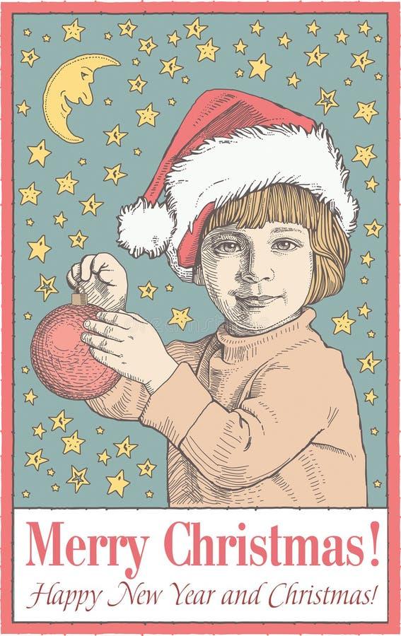 Cartolina d'auguri, struttura Buon Natale di nuovo anno felice famiglia Bambino, ragazzo santa Inverno Illustrazione d'annata di  illustrazione vettoriale