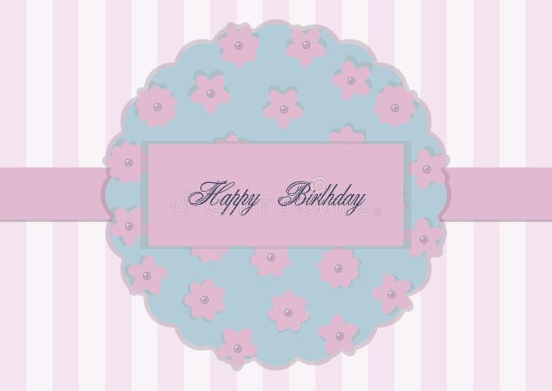 Cartolina d'auguri su un fondo piano rosa con un nastro nel mezzo e un elemento floreale con i centri della perla, vettore che sc illustrazione vettoriale