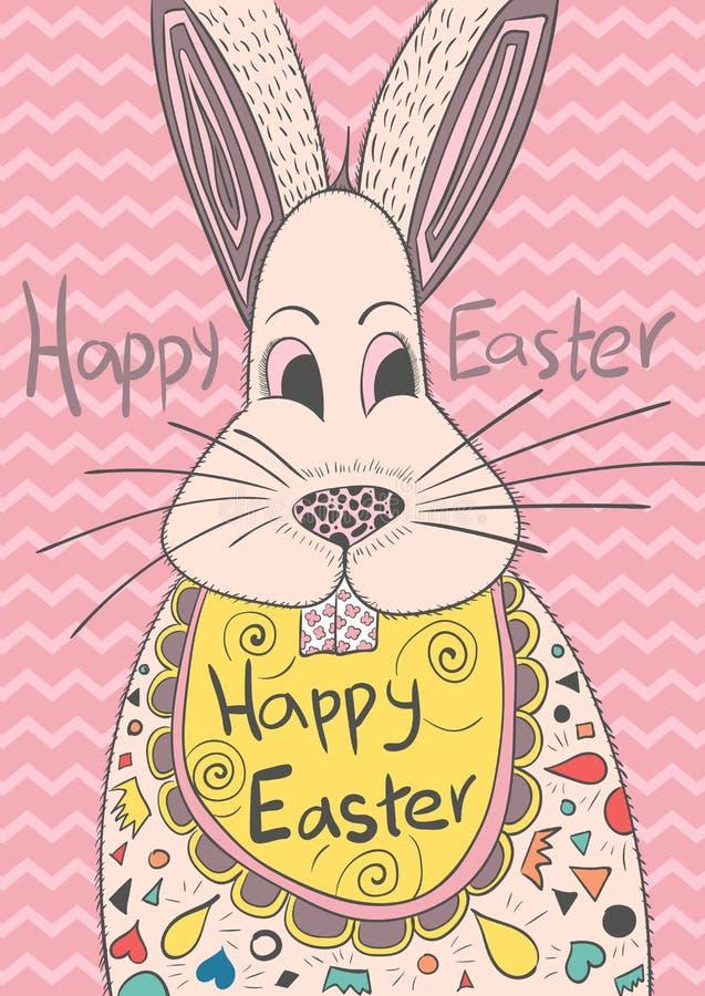 Cartolina d'auguri sveglia con il coniglietto per Pasqua immagine stock