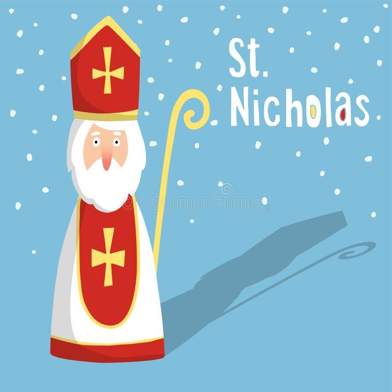 Cartolina d'auguri sveglia con San Nicola, illustrazione di stock