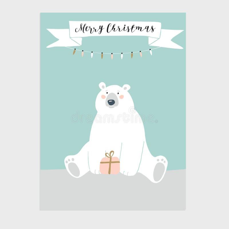 Cartolina d'auguri sveglia di Buon Natale, invito con il contenitore di regalo della tenuta dell'orso polare Insegna del nastro c illustrazione vettoriale