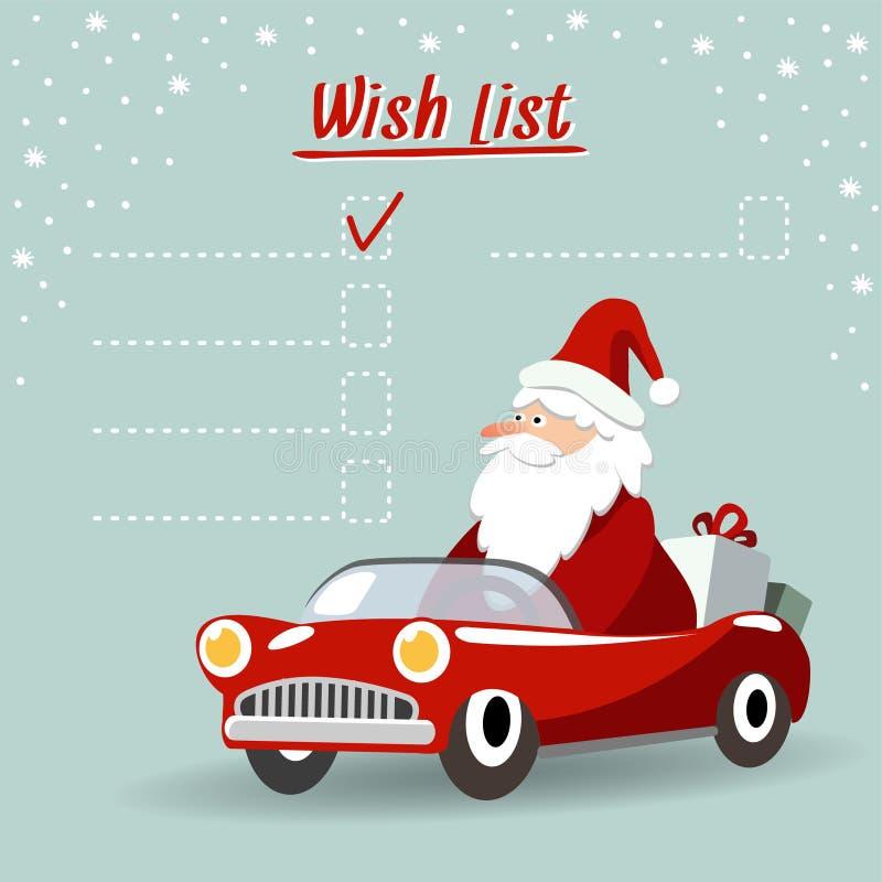 Cartolina d'auguri sveglia di natale, lista di obiettivi con Santa Claus, retro automobile sportiva, illustrazione di stock