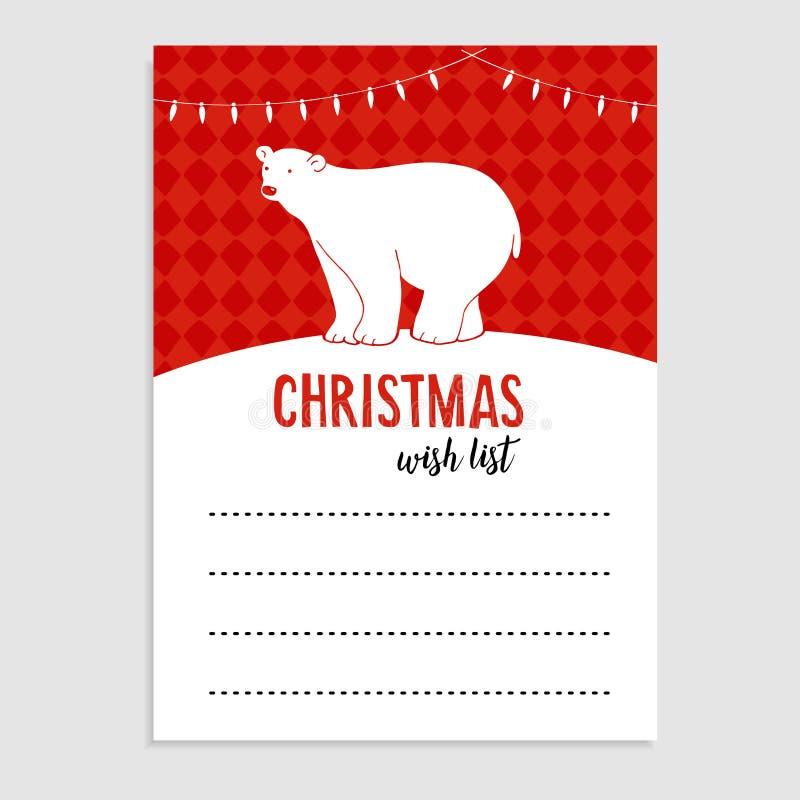 Cartolina d'auguri sveglia di Natale, orso polare della lista di obiettivi, luci di Natale e neve Fondo disegnato a mano dell'ill illustrazione vettoriale