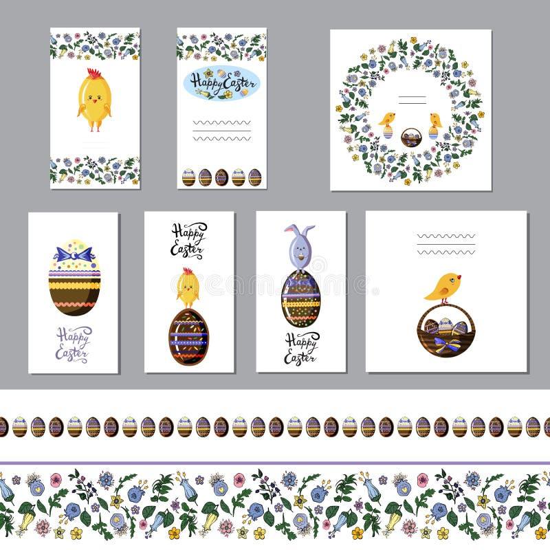 Cartolina d'auguri sveglia di pasqua messa con le uova di cioccolato ed i confini senza cuciture Vettore piano illustrazione di stock