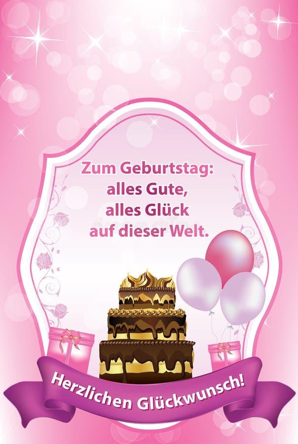 Cartolina d'auguri tedesca di compleanno, anche per la stampa illustrazione di stock