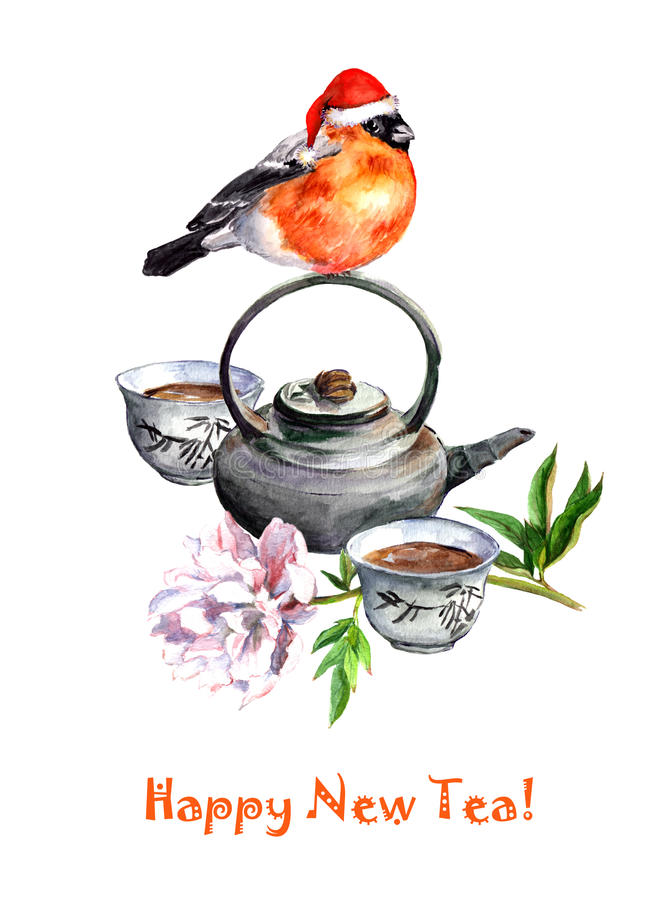 Cartolina d'auguri - teiera, tè ed uccello di natale watercolor immagine stock libera da diritti