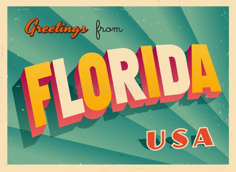 Cartolina d'auguri turistica d'annata da Florida illustrazione di stock