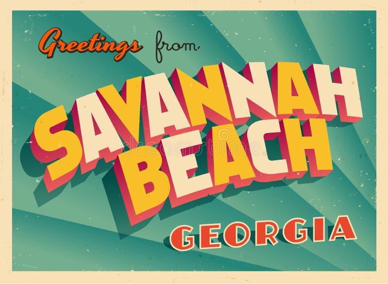 Cartolina d'auguri turistica d'annata da Savannah Beach, Georgia illustrazione vettoriale