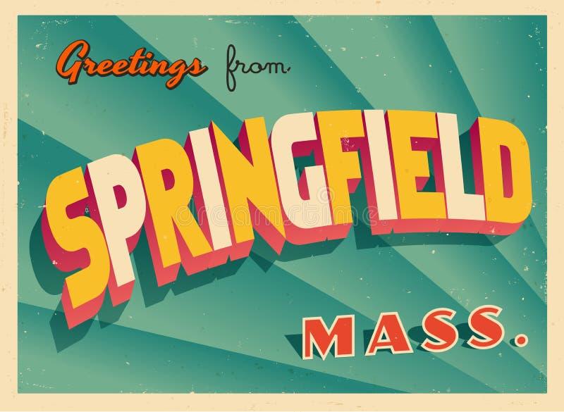 Cartolina d'auguri turistica d'annata da Springfield, Massachusetts royalty illustrazione gratis