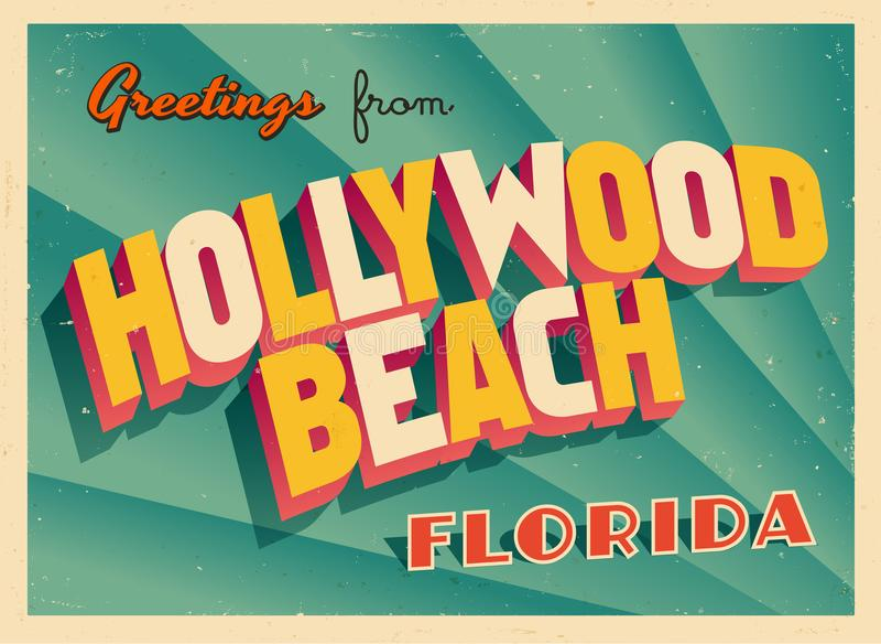 Cartolina d'auguri turistica d'annata dalla spiaggia di Hollywood, Florida illustrazione di stock