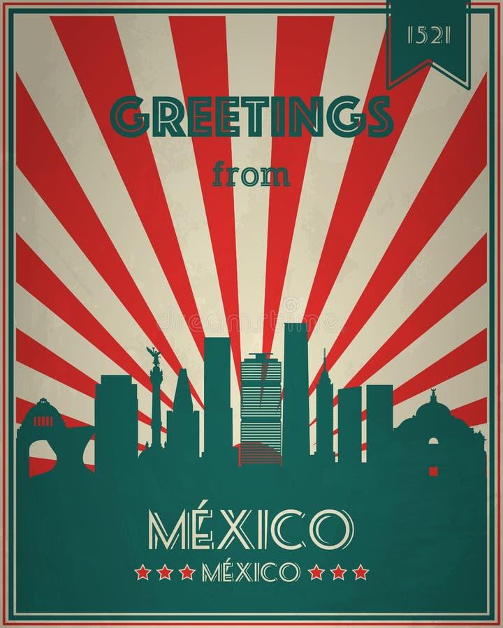 Cartolina d'auguri turistica d'annata - Messico illustrazione di stock