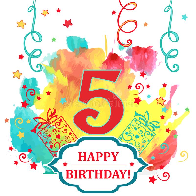 Auguri Buon Compleanno 5 Anni.Cartolina D Auguri Variopinta Di Numero 5 Di Buon Compleanno