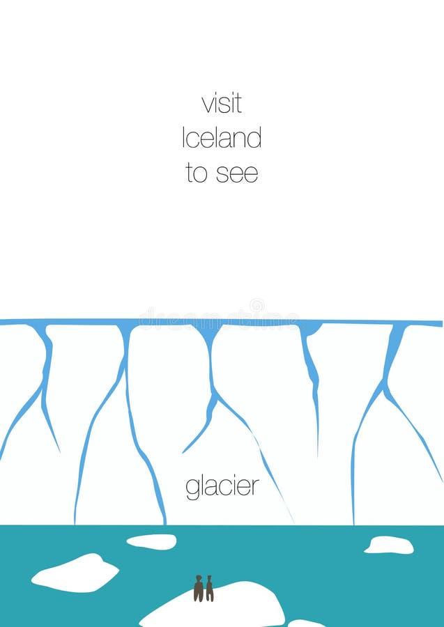 Cartolina d'invito dell'Islanda Vettore degli iceberg e del ghiacciaio, progettazione piana semplice royalty illustrazione gratis