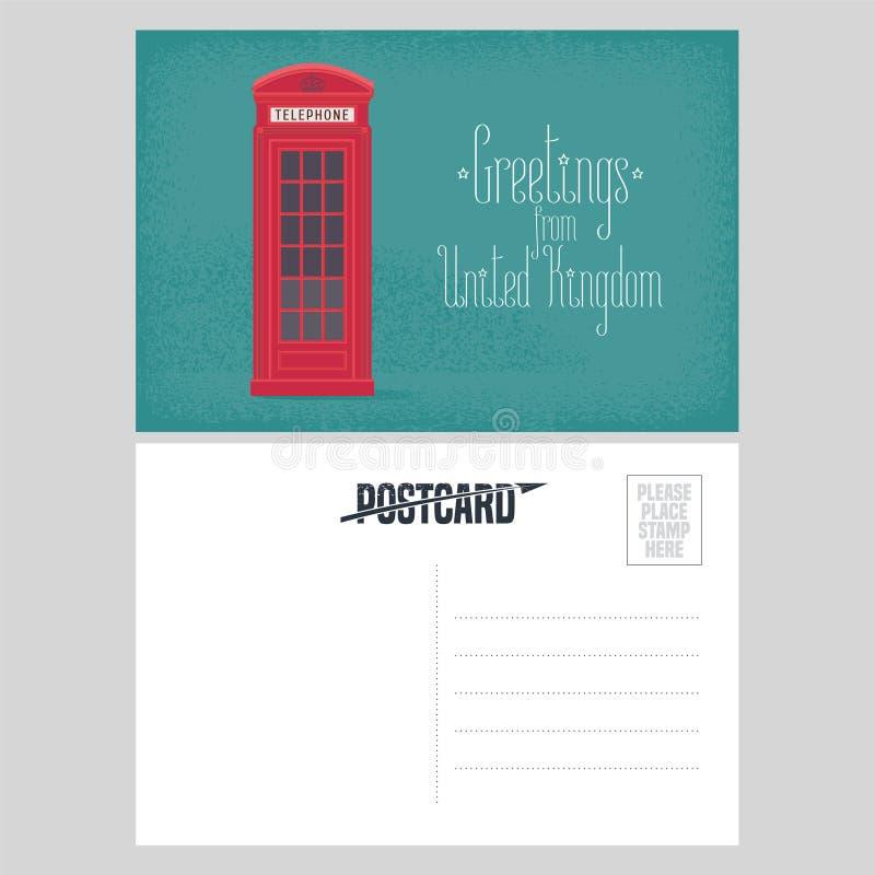 Cartolina dall'illustrazione di vettore della Gran Bretagna con la cabina telefonica rossa illustrazione vettoriale