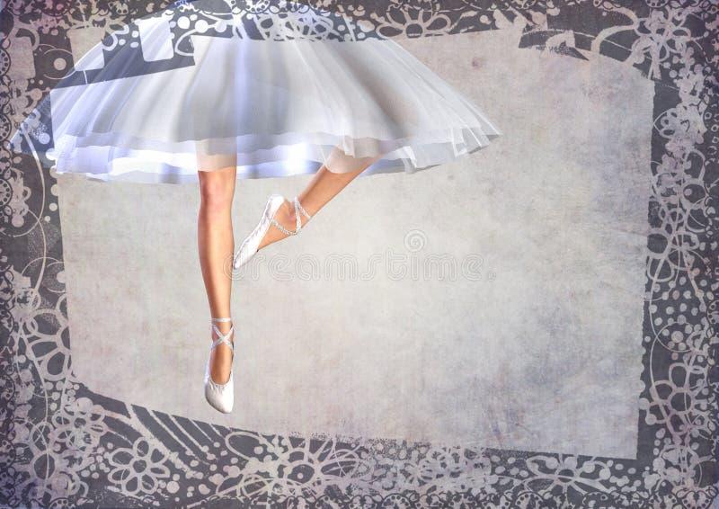 Cartolina dei piedini di ballet-dancer della ballerina con il blocco per grafici royalty illustrazione gratis