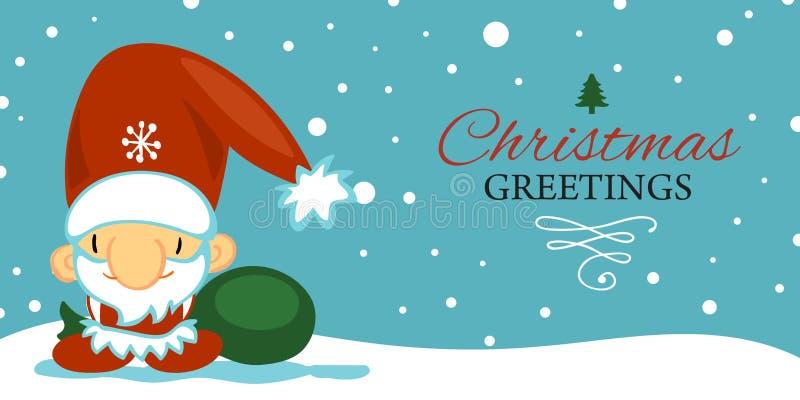 Cartolina del buon anno e di Buon Natale con il Babbo Natale sveglio nello stile del fumetto su fondo blu con la caduta royalty illustrazione gratis