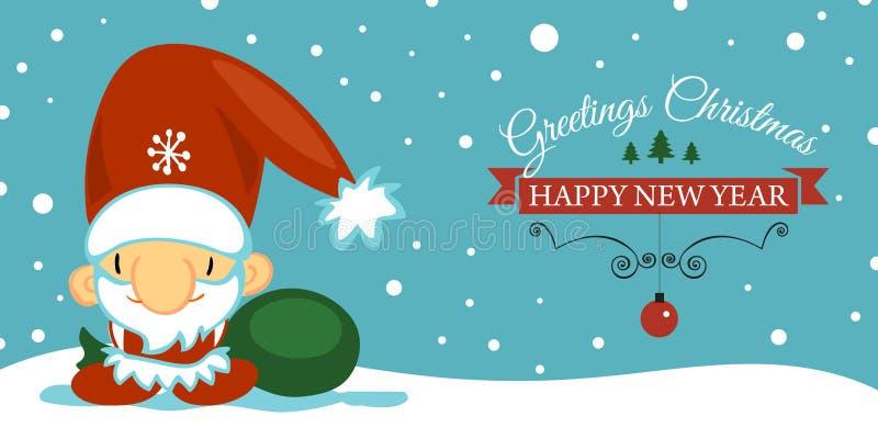 Cartolina del buon anno e di Buon Natale con il Babbo Natale sveglio nello stile del fumetto su fondo blu con la caduta illustrazione di stock