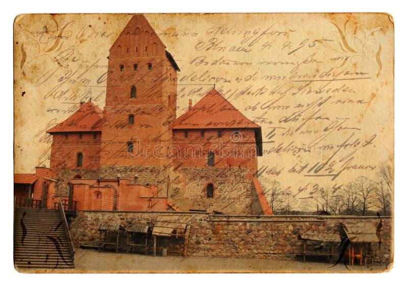 Cartolina del castello dell'annata immagine stock libera da diritti