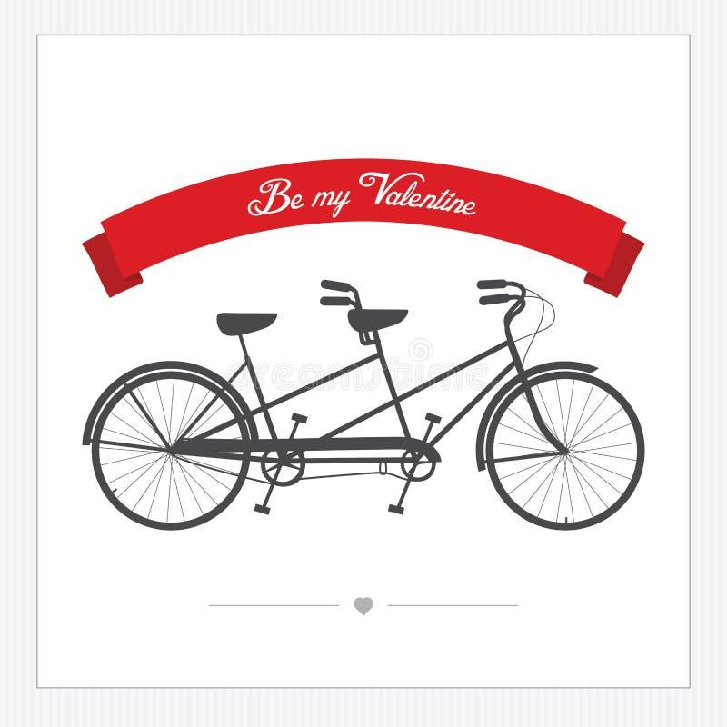 Cartolina del giorno del biglietto di S. Valentino con la bicicletta del tandem dell'annata illustrazione di stock