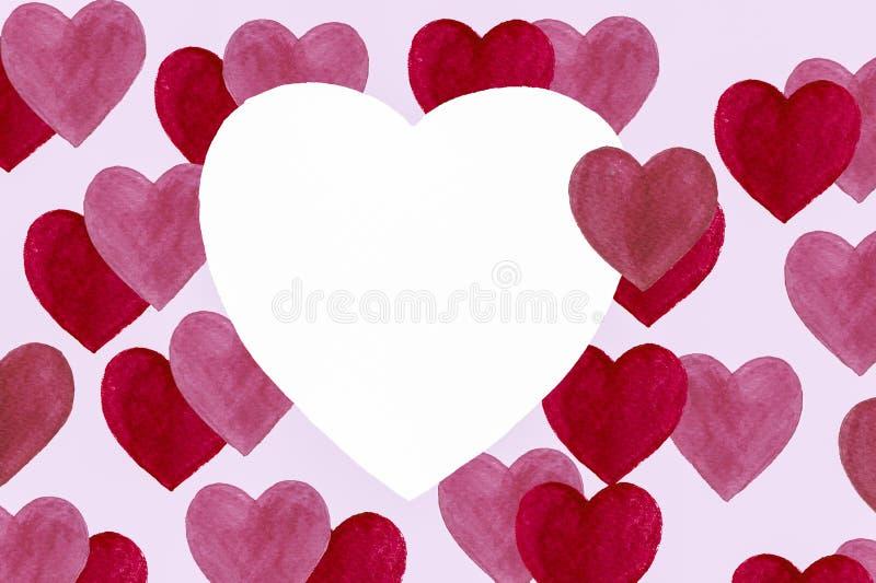 Cartolina del ` s del biglietto di S. Valentino dell'acquerello cuori, modello, disegnato a mano illustrazione di stock