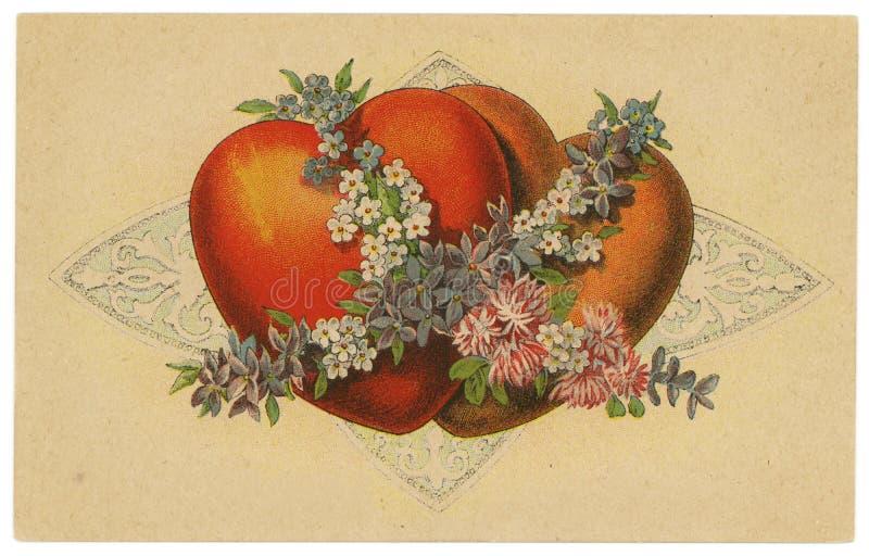 Cartolina dell'annata con il disegno dei cuori illustrazione di stock