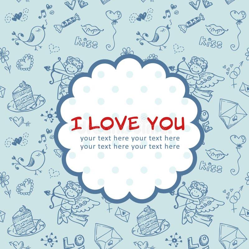 Cartolina di amore di giorno del biglietto di S. Valentino di Doodle illustrazione vettoriale