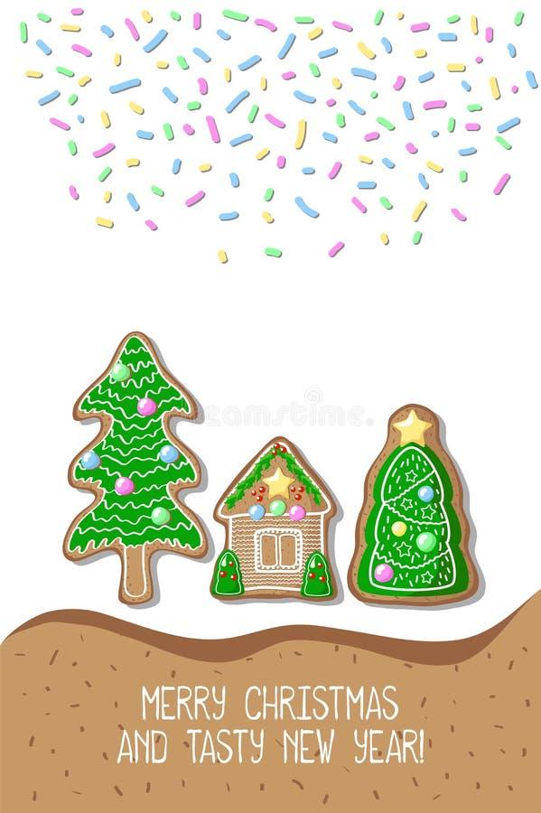 Cartolina di Buon Natale con le case di pan di zenzero Cartolina disegnata a mano di Natale illustrazione vettoriale