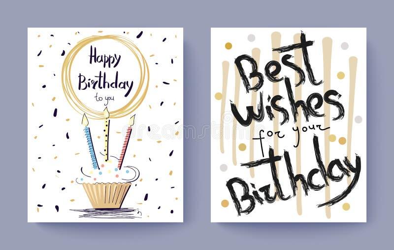 Cartolina di congratulazione di auguri di buon compleanno royalty illustrazione gratis