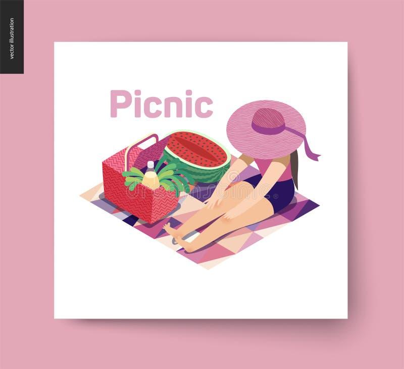 Cartolina di estate di immagine di picnic illustrazione vettoriale