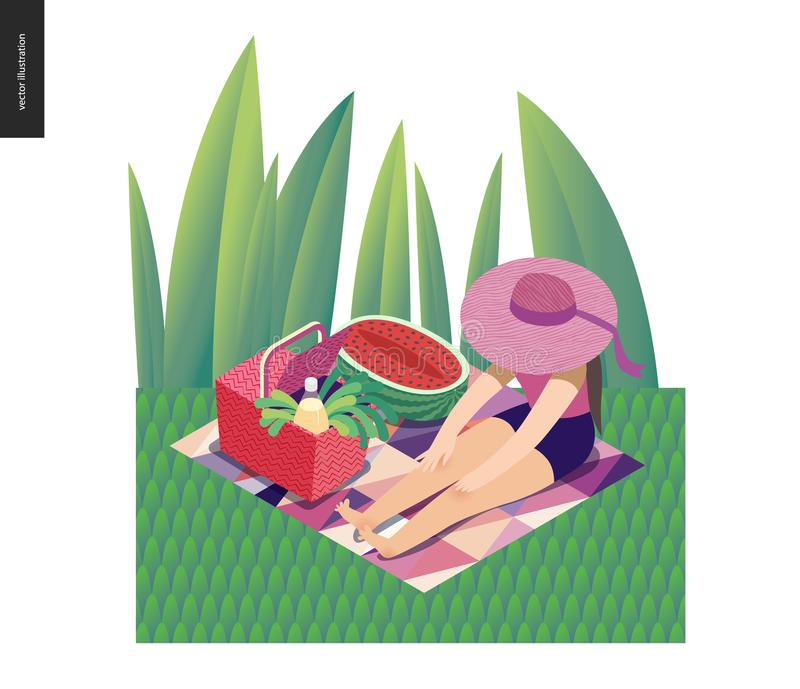 Cartolina di estate di immagine di picnic illustrazione di stock