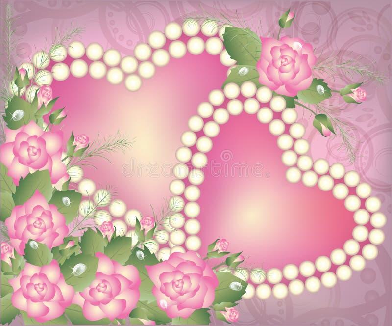 Cartolina di giorno di biglietti di S. Valentino con due cuori della perla royalty illustrazione gratis