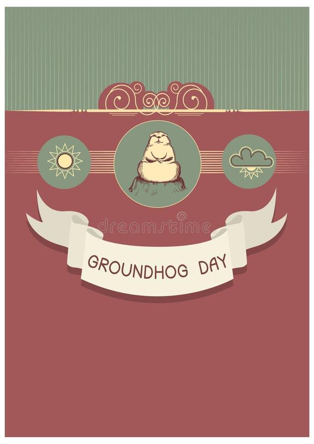 Cartolina di giorno di Groundhog royalty illustrazione gratis