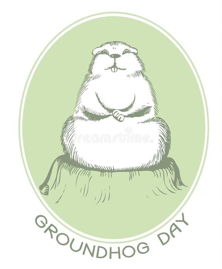 Cartolina di giorno di Groundhog illustrazione di stock