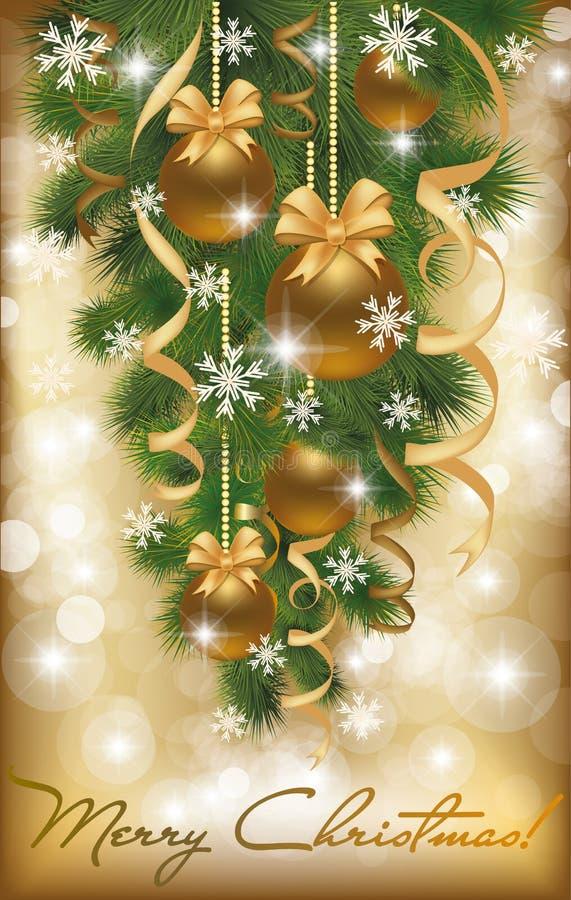 Cartolina di Natale allegra con le sfere dorate illustrazione di stock