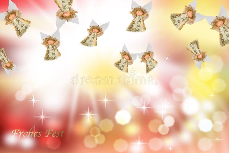 Cartolina di Natale, angeli immagine stock