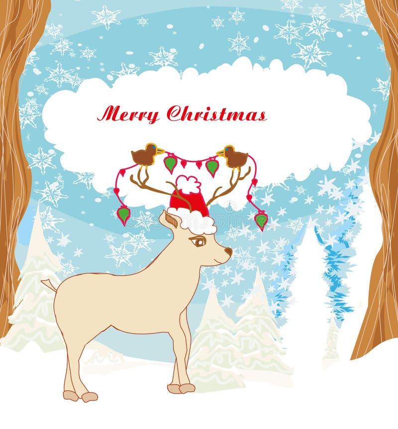 Cartolina di Natale astratta con la renna e gli uccelli illustrazione di stock