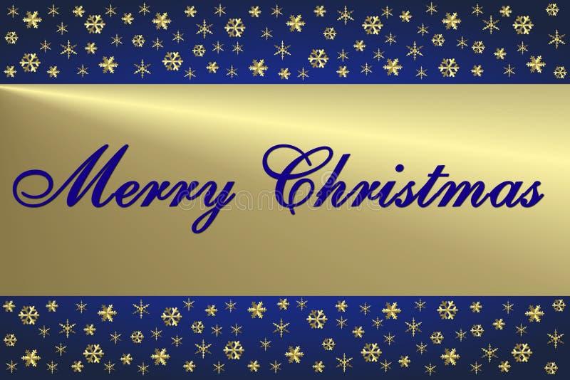 Cartolina Di Natale Blu & Dorata Fotografia Stock Libera da Diritti