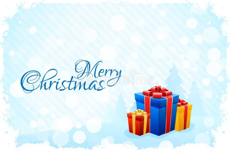 Cartolina di Natale blu Grungy illustrazione vettoriale