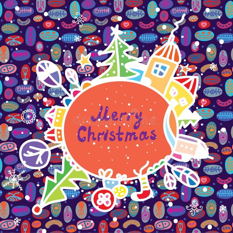 Cartolina di Natale capricciosa con la citt royalty illustrazione gratis