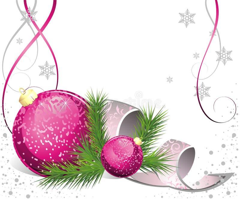 Cartolina di Natale con abete e le sfere illustrazione di stock